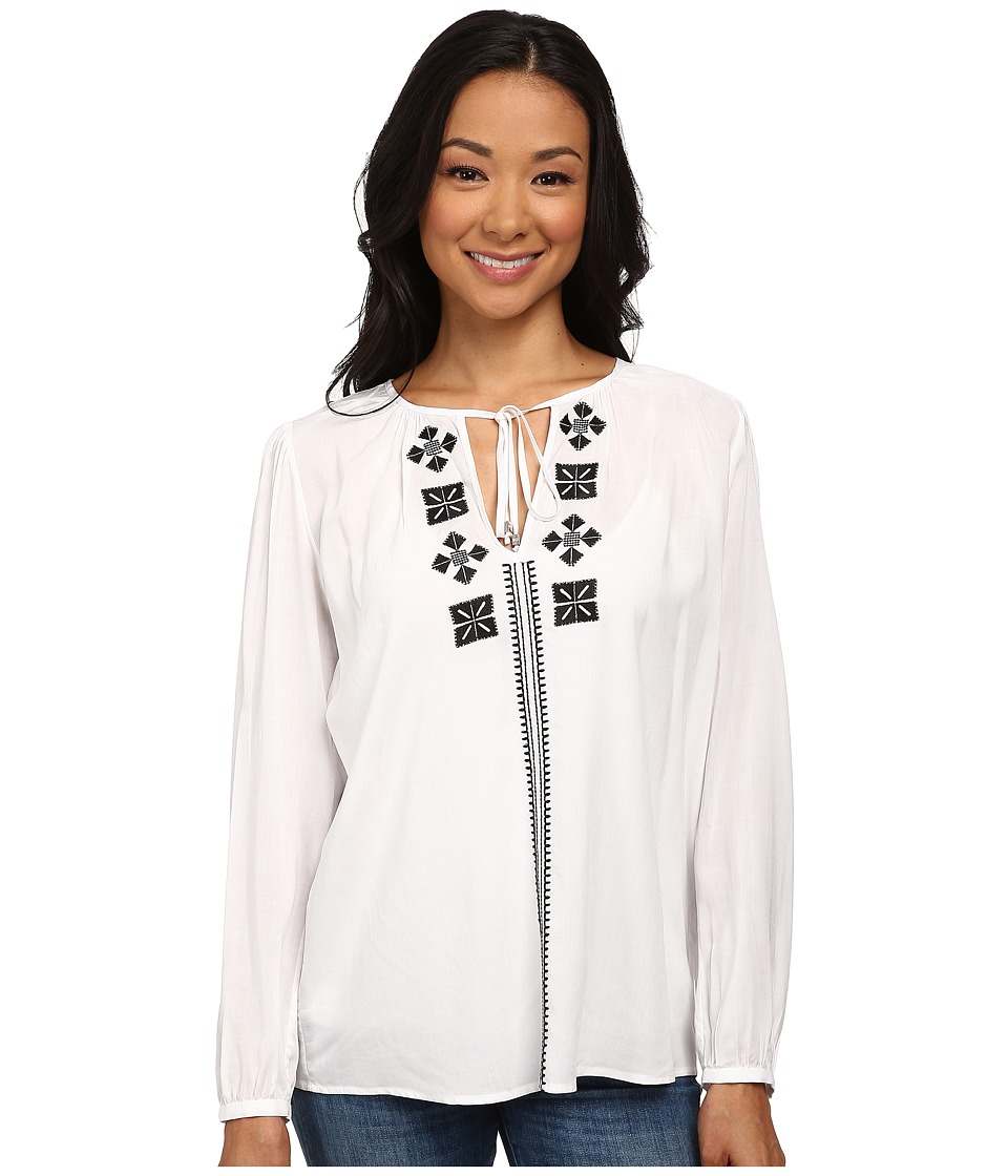 MICHAEL Michael Kors - Thread Embroidery Top (White/Black) Women's Blouse