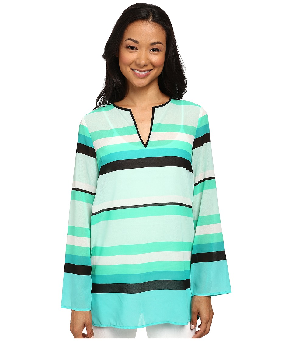MICHAEL Michael Kors - Kirkham Stripe V-Neck Top (Turquoise) Women's Blouse