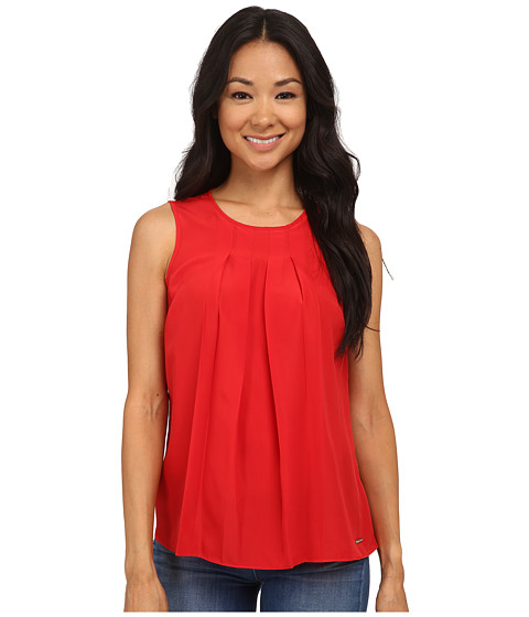 MICHAEL Michael Kors - Petite Pleat Top (True Red) Women's Blouse