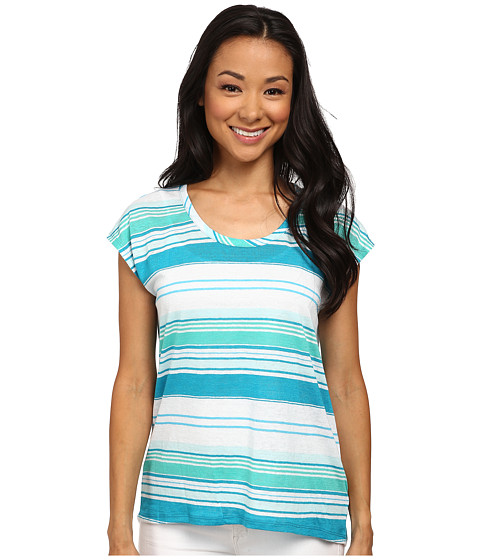 MICHAEL Michael Kors - Tonal Yarn-Dyed Stripe Eliptical Top (Turquoise) Women's Clothing