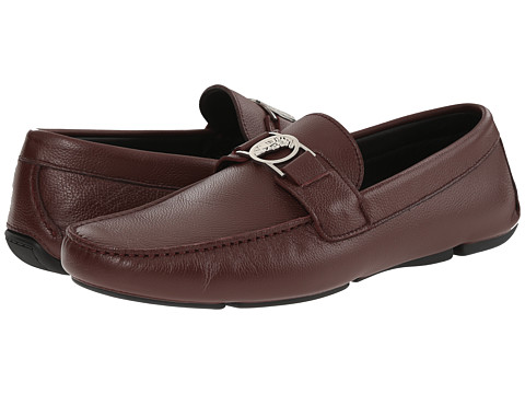 Versace Collection - Leather Driver (Bordeaux) Men's Shoes