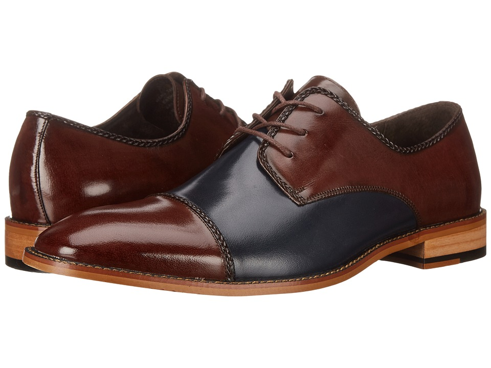 Stacy Adams - Brayden (Brown/Navy) Men's Lace Up Cap Toe Shoes