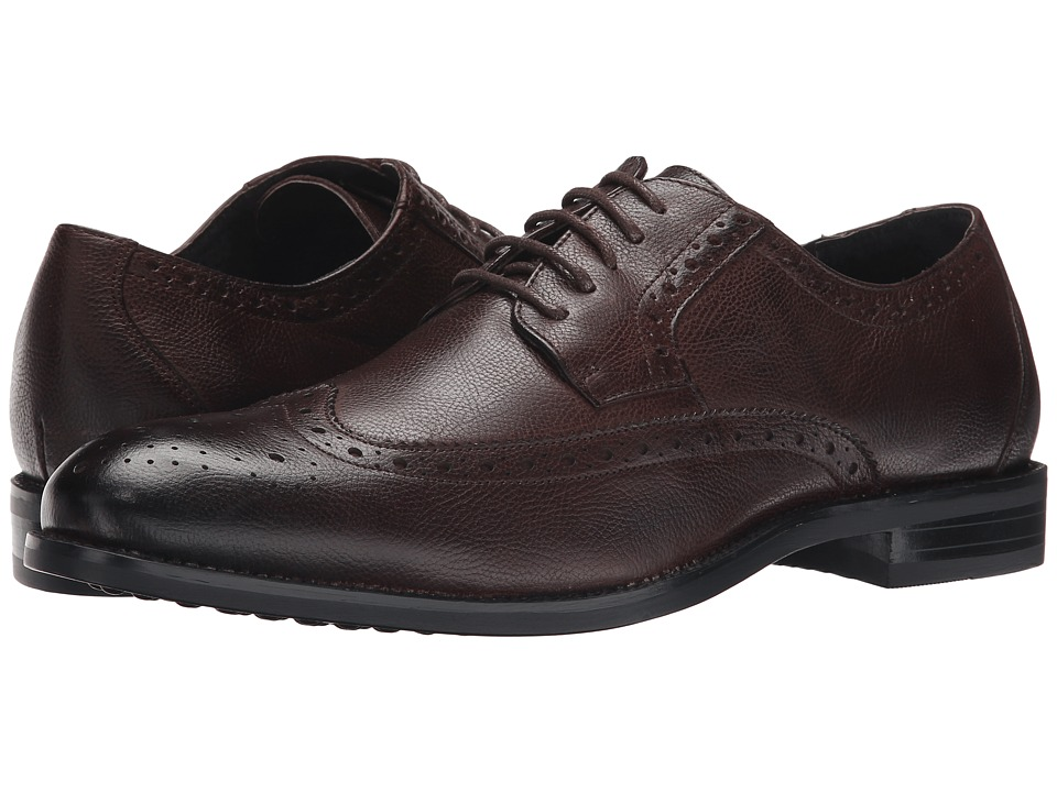 Stacy Adams - Garrick (Brown Tumbled) Men's Lace Up Wing Tip Shoes
