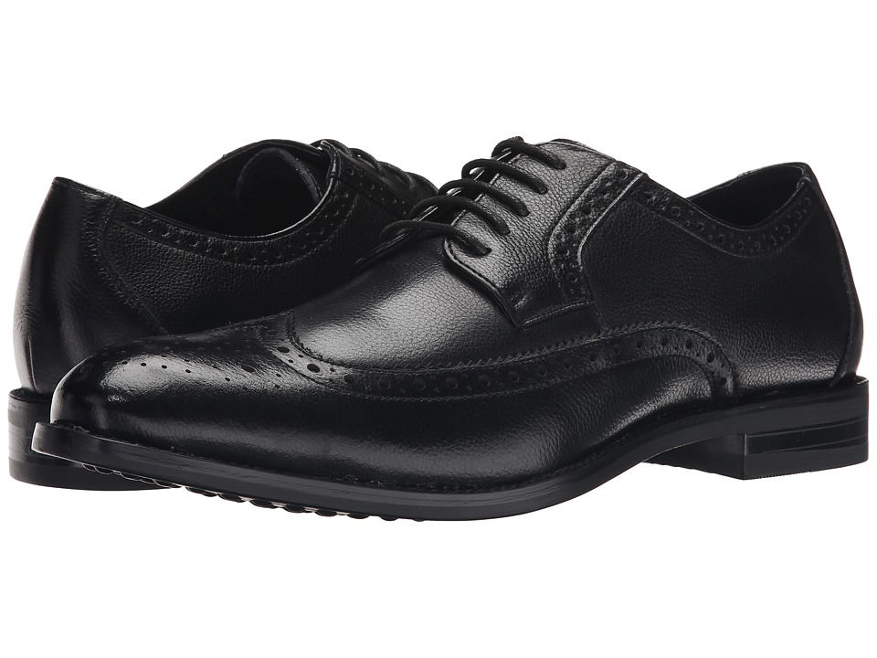 Stacy Adams - Garrick (Black Tumbled) Men's Lace Up Wing Tip Shoes