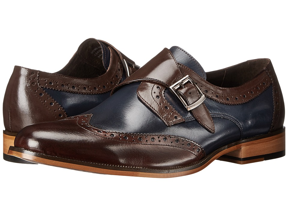 Stacy Adams - Stratford (Brown/Navy) Men's Monkstrap Shoes