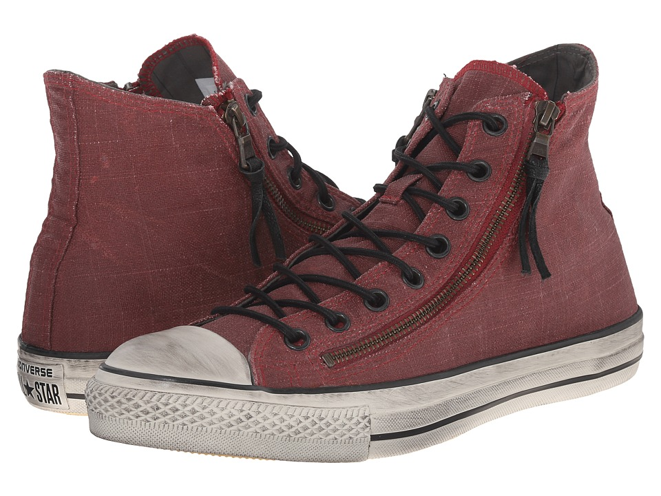 Converse by John Varvatos Chuck Taylor All Star Double Zip Hi (Painted Textile Oxblood/Beluga/Turtledove) Shoes