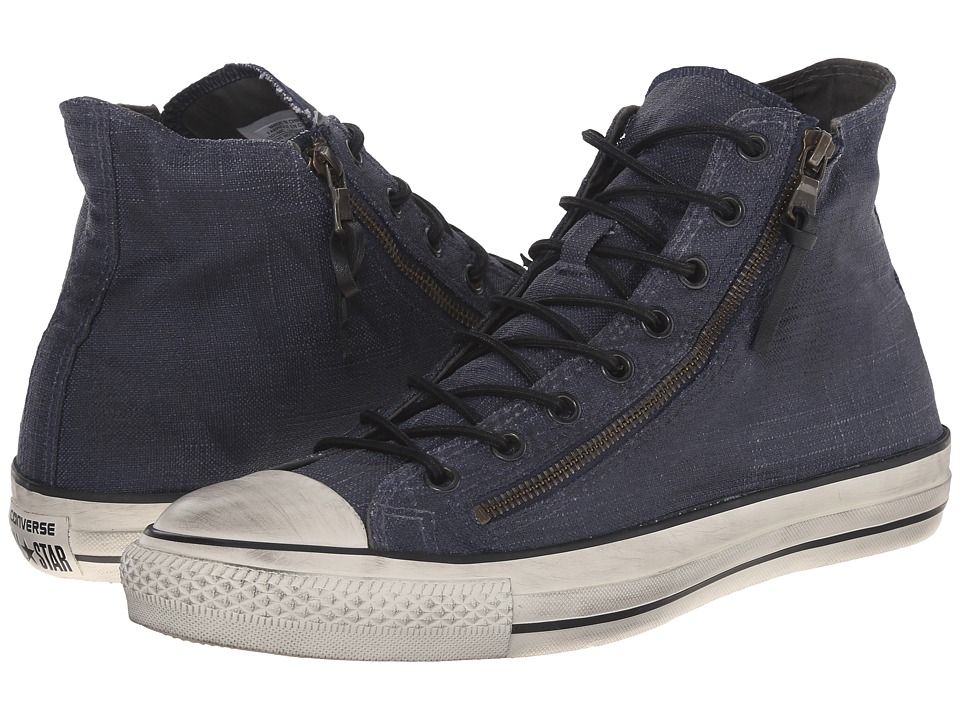 Converse by John Varvatos - Chuck Taylor All Star Double Zip Hi (Painted Textile Ink/Beluga/Turtledove) Shoes