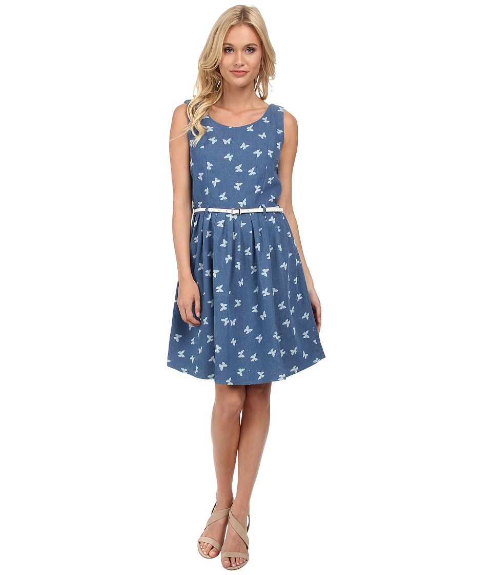 Yumi - Chambray Dress with Butterfly Print And Belt (Chambray Blue) Women's Dress