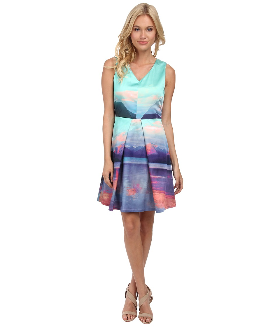 Yumi - V-Neck Mountain Digital Print Dress With Panelling (Multicolor) Women's Dress