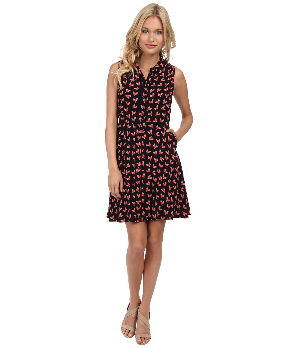 Yumi - Rooster Print Shirt Fit Flare Dress with Piping Details (Black) Women