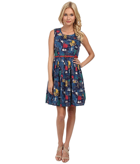 Yumi - Botanical Postcard Print Sleeveless Dress with Belt (Navy) Women