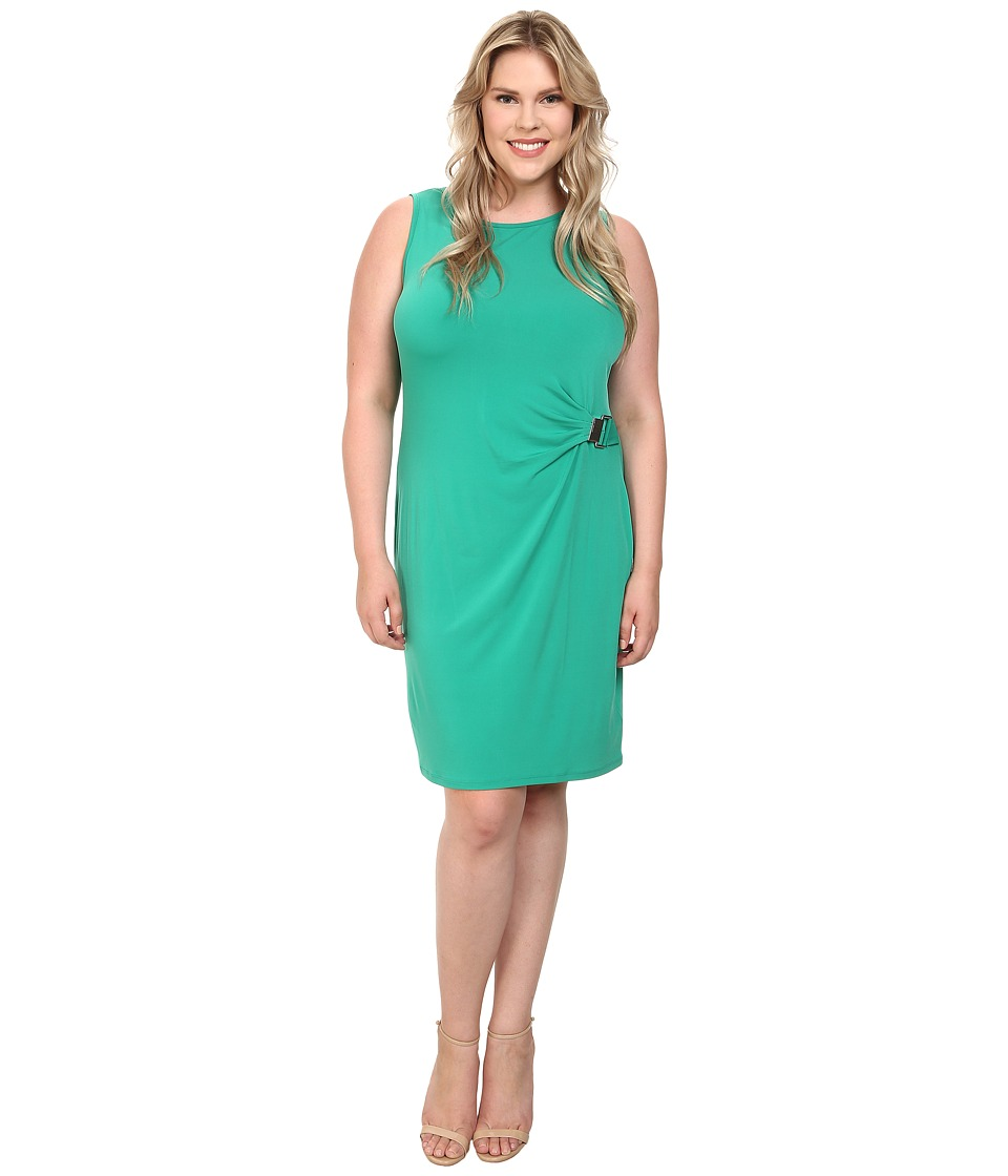 MICHAEL Michael Kors Plus Size Sleeveless Metal Pleat Drape Dress (Pepper Green) Women