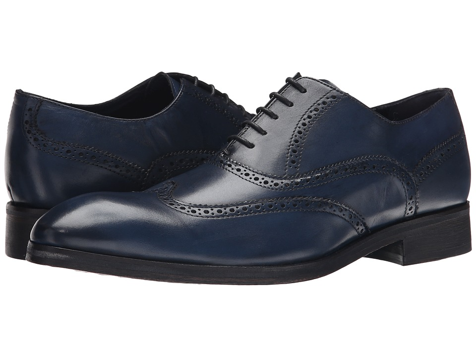 Messico - Ciro (Navy Blue Leather) Men's Flat Shoes