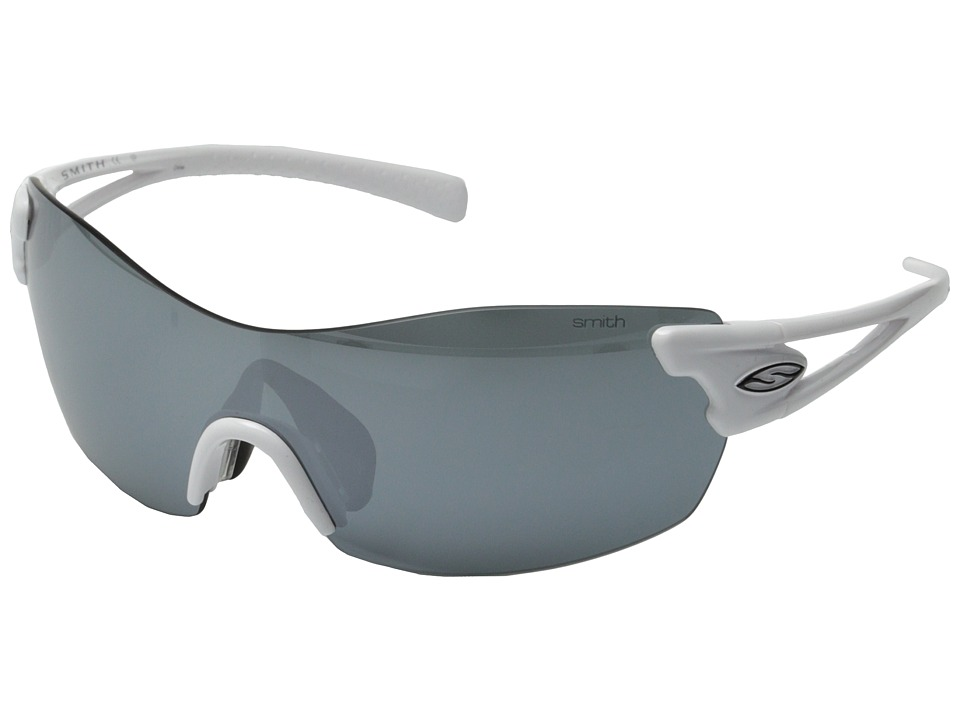 Smith Optics - Pivlock Asana (White/Platinum/Lgnitor/Clear Carbonic TLT Lenses) Fashion Sunglasses
