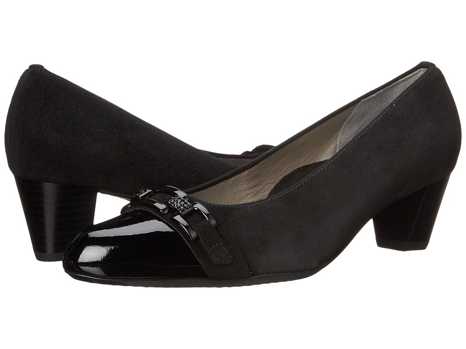 ara Karla (Black Suede/Patent Toe) Women