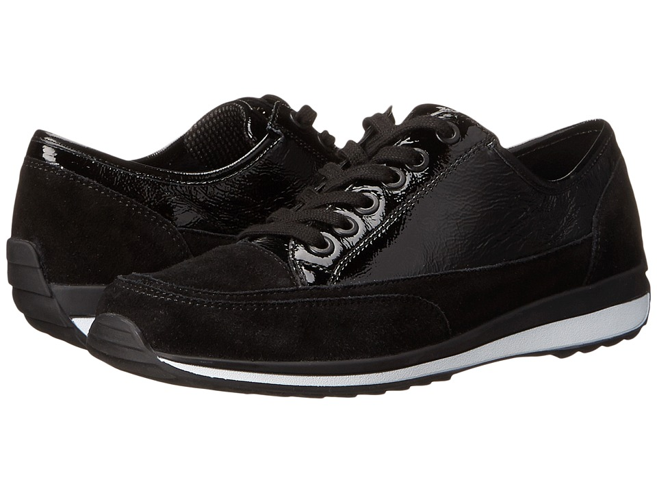 ara - Hermione (Black Suede/Crinkle Patent) Women's Shoes