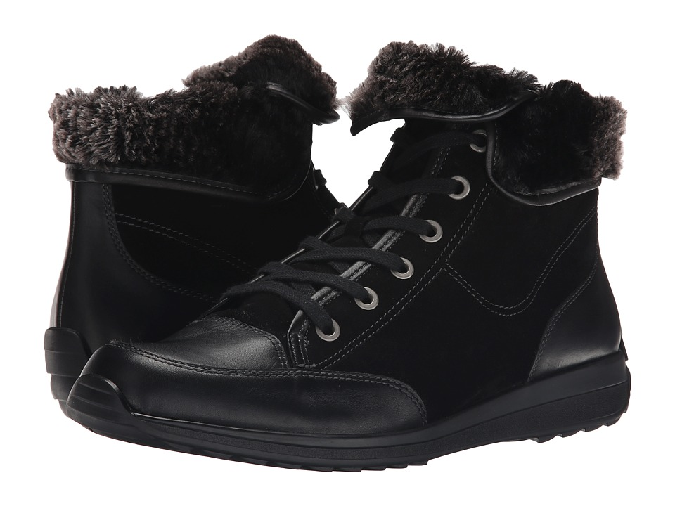 ara Holbrook (Black/Anthracite Leather/Suede/Fur) Women