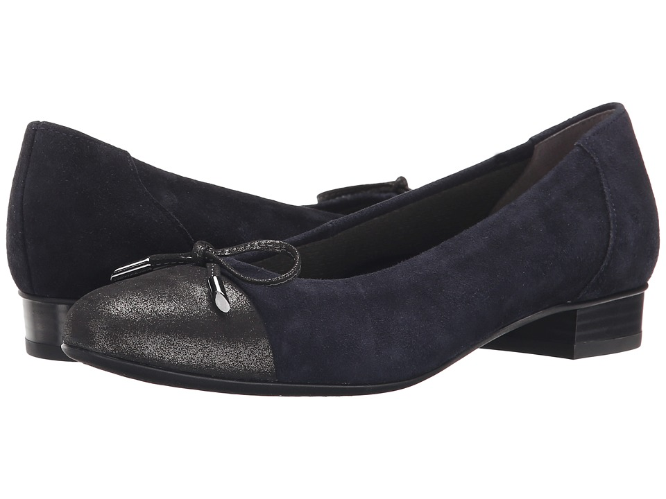 ara - Bria (Navy Suede/Gun Glitter Toe) Women's Flat Shoes