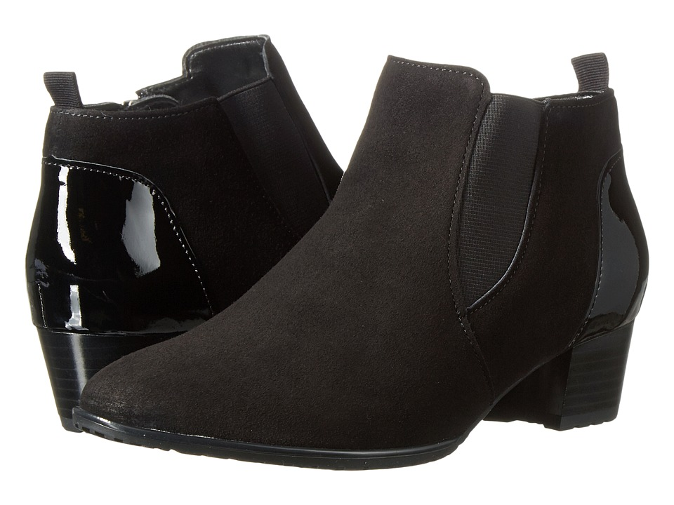 ara - Porter (Black Suede/Patent Accent) Women's Shoes
