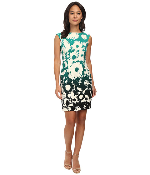 London Times - Cap Sleeve Placement Print Sheath Dress (Green) Women's Dress