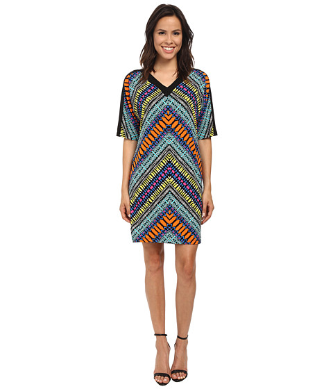 London Times - Blocked Shoulder Dolman Sleeve Shift Dress (Multi) Women