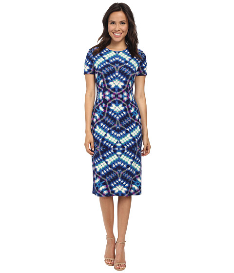 London Times - Short Sleeve Midi Sheath Dress (Blue) Women