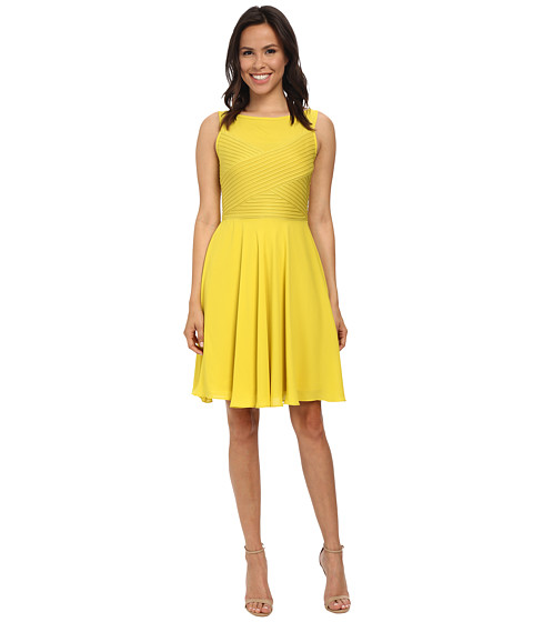 London Times - Sleeveless Crisscross Bodice Full Skirt Dress (Lime) Women