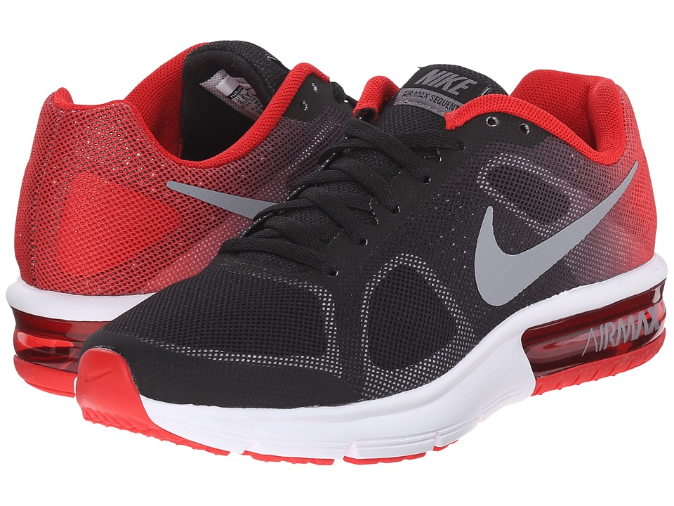 Nike Kids - Air Max Sequent (Big Kid) (Black/University Red/White/Metallic Cool Grey) Boys Shoes