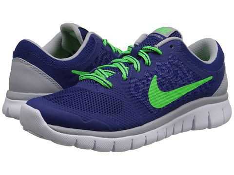 Nike Kids - Flex 2015 Run (Big Kid) (Deep Royal Blue/Wolf Grey/White/Green Strike) Boys Shoes