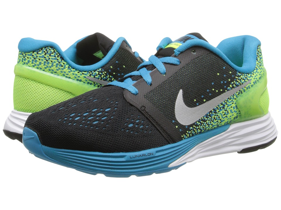 Nike Kids - Lunarglide 7 (Big Kid) (Black/Blue Lagoon/White/Volt) Boys Shoes