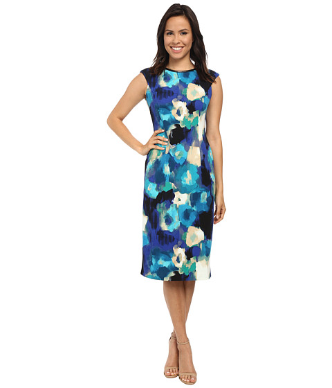 London Times - Cap Sleeve Midi Sheath Dress (Blue) Women