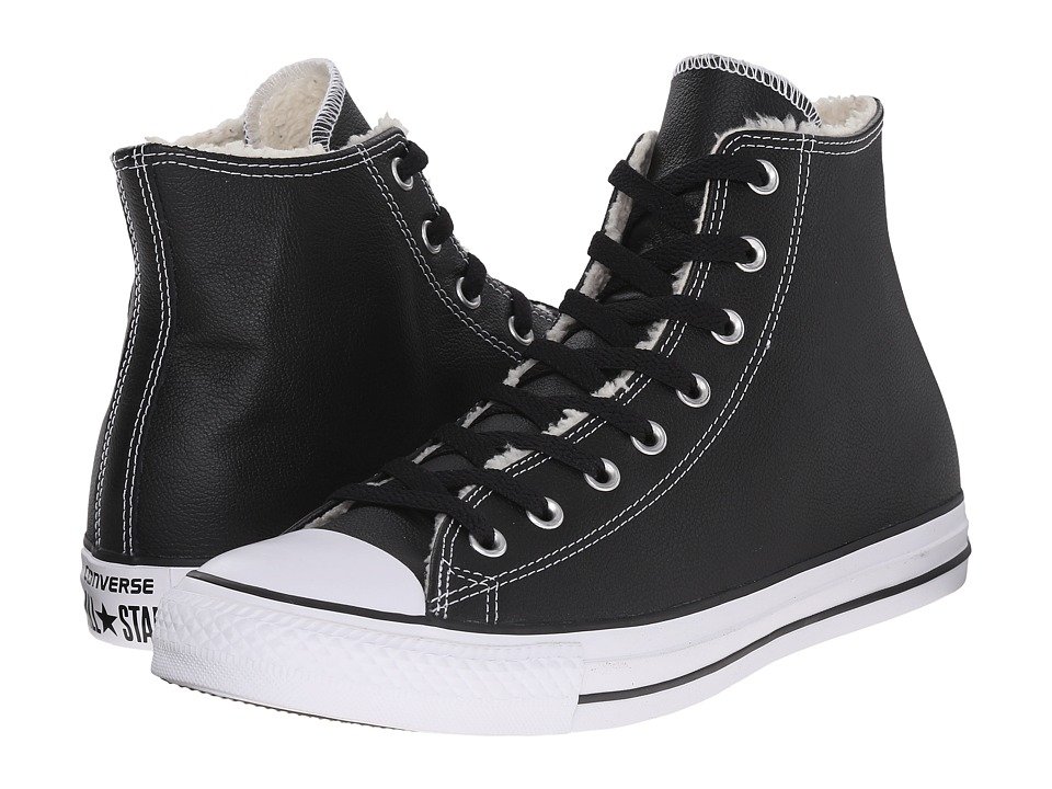 Converse Chuck Taylor All Star Hi Leather/Shearling (Black/White/Black) Lace up casual Shoes