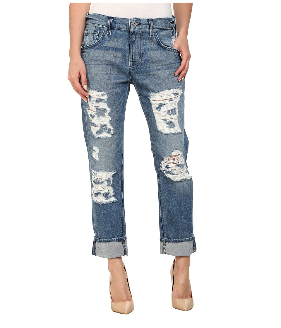 7 For All Mankind - The Relaxed Skinny w/ Shredding in Rigid Vintage Indigo 2 (Rigid Vintage Indigo 2) Women