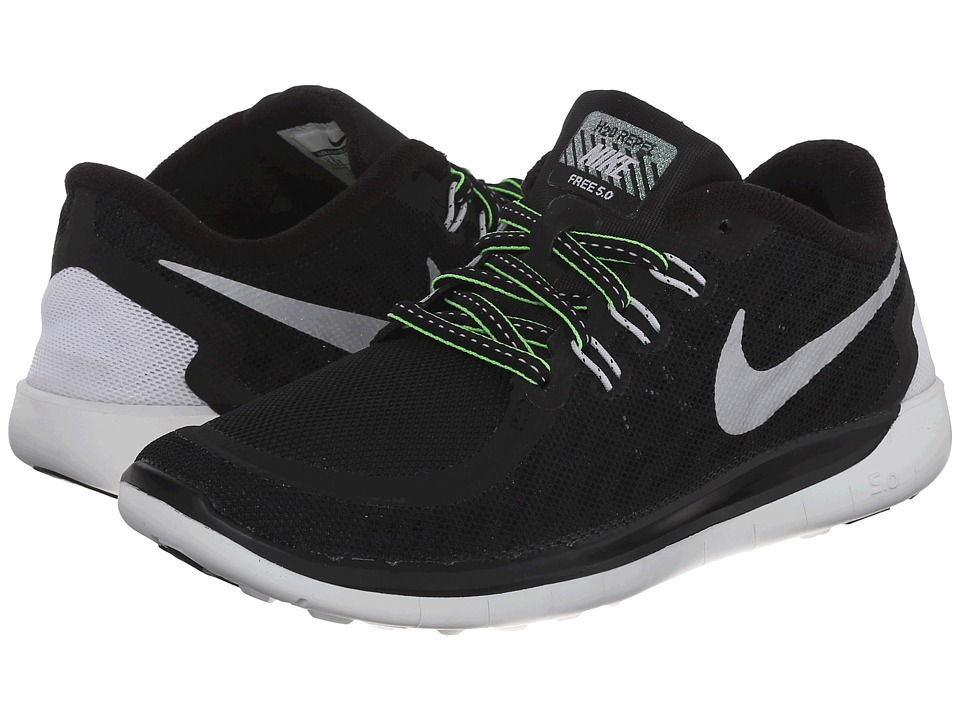 Nike Kids - Free 5.0 Flash (Big Kid) (Black/Summite White/Electric Green/Reflect Silver) Boys Shoes