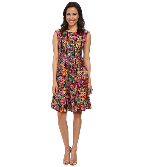 London Times - Cap Sleeve Fit Flare Dress (Multi) Women