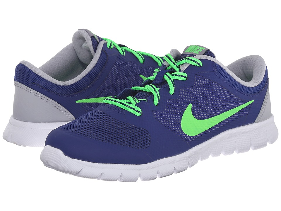 Nike Kids - Flex 2015 Run (Little Kid) (Deep Royal Blue/Wolf Grey/White/Green Strike) Boys Shoes