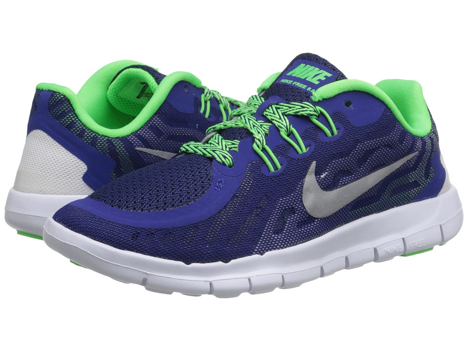 Nike Kids - Free 5.0 (Little Kid) (Deep Royal Blue/Green Strike/Black/Metallic Silver) Boys Shoes