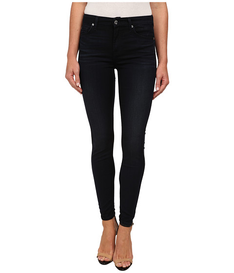 7 For All Mankind - The Mid Rise Ankle Skinny in Featherweight Clean Dark Blue (Featherweight Clean Dark Blue) Women