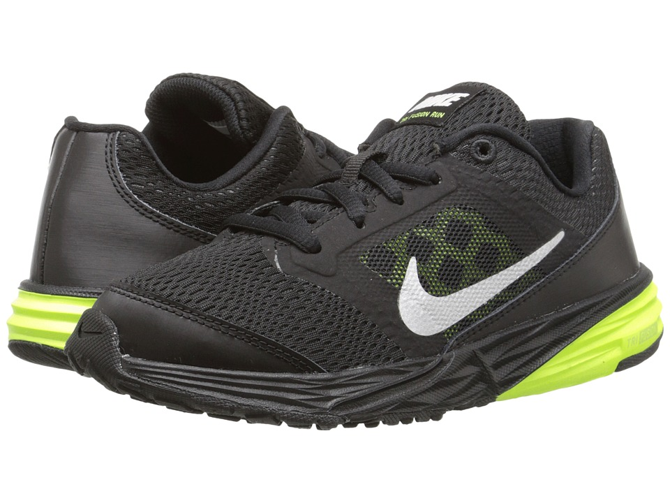 Nike Kids - Tri Fusion Run (Little Kid) (Black/Volt/Metallic Silver) Boys Shoes
