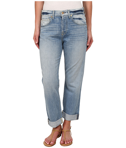 7 For All Mankind - The Cropped 1984 Boyfriend in Aura Blue Heritage (Aura Blue Heritage) Women