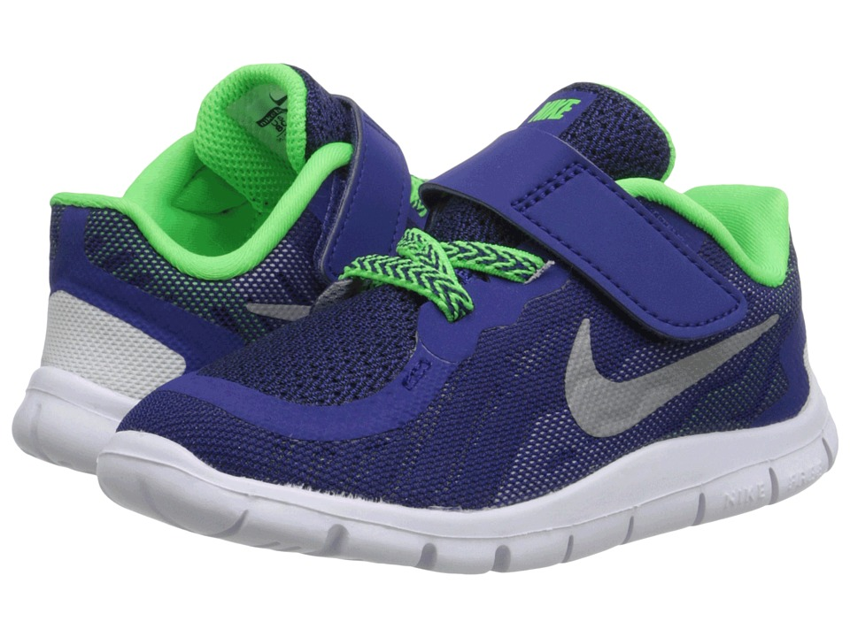Nike Kids - Free 5 (Infant/Toddler) (Deep Royal Blue/Green Strike/Black/Metallic Silver) Boys Shoes