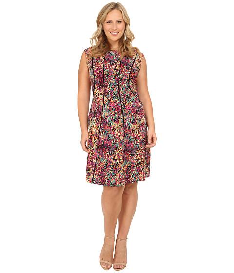 London Times - Plus Size Cap Sleeve Fit Flare Dress (Multi) Women's Dress