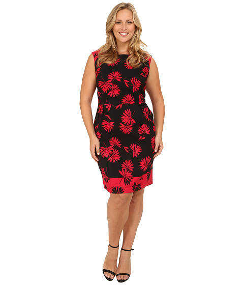 London Times - Plus Size Cap Sleeve Printed A-Line Dress (Black Berry) Women
