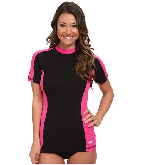 Speedo - S/S Rashguard (Blazing Pink) Women's Swimwear