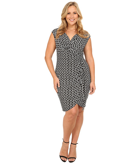 London Times - Plus Size Cap Sleeve Printed Side Ruche Dress (Black/White) Women's Dress