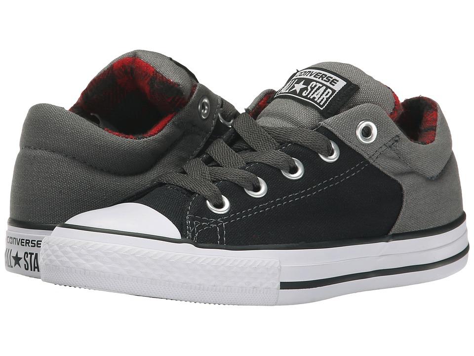 Converse Kids - Chuck Taylor All Star HI Street Ox Plaid (Little Kid/Big Kid) (Black/Thunder/Casino) Boys Shoes