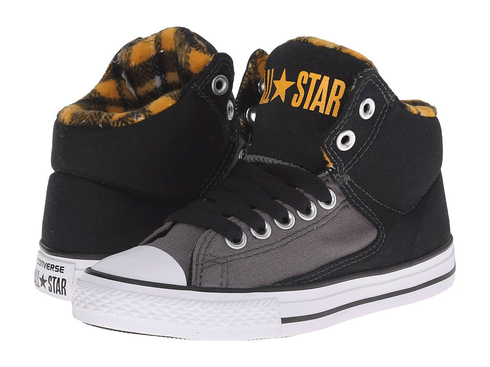 Converse Kids - Chuck Taylor All Star HI Street Hi Plaid (Little Kid/Big Kid) (Thunder/Black/Yellow) Boys Shoes