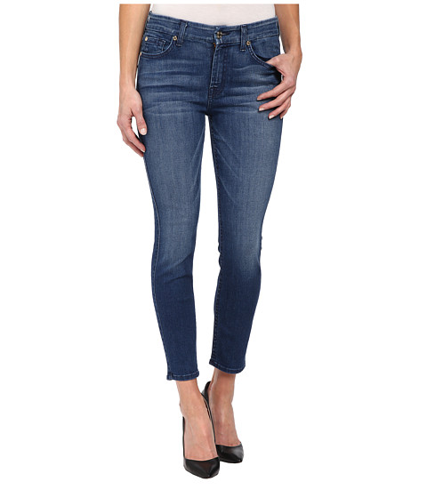 7 For All Mankind - Mid Rise Skinny Crop w/ Contour Waistband in Lake Dillon Medium Bright (Lake Dillon Medium Bright) Women's Jeans
