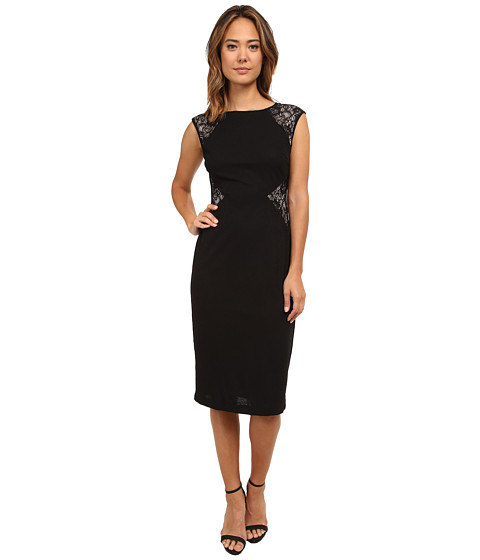 London Times - Lace Cutout Sheath Dress (Black/Nude) Women
