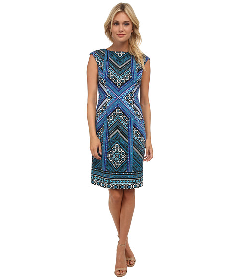 London Times - Cap Sleeve Placement Print Sheath Dress (Blue) Women